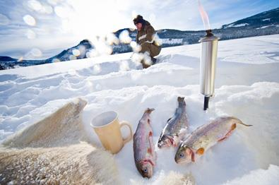 Ice fishing at Lake Heggefjorden.