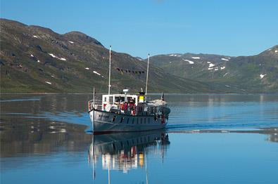 MB Bitihorn serves the boat route on Lake Bygdin during summer