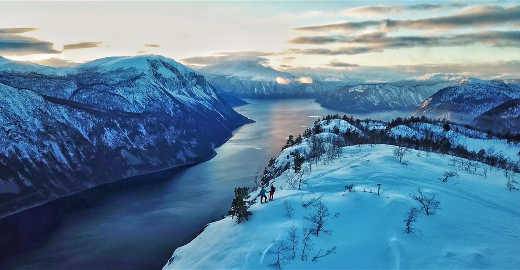 Snowshoe hike with fjord view
