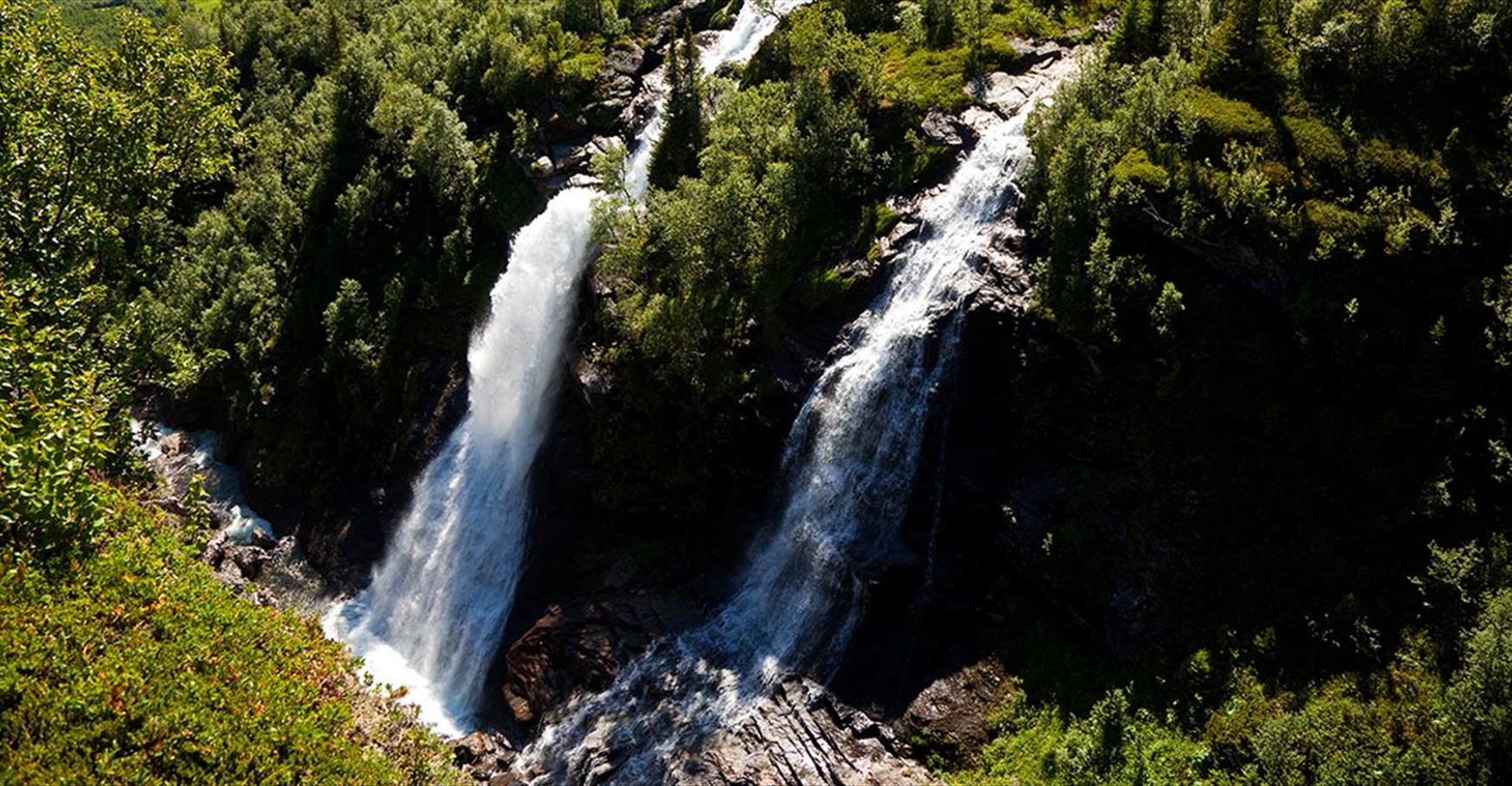 The waterfall Sputrefossen in Vang county.