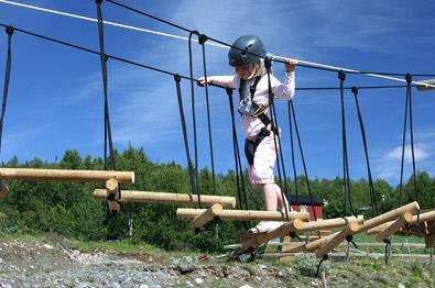 Mini high rope course at Beitostølen Sommerpark.