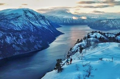Snowshoe tour with fjord view