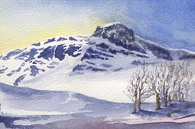Aquarelle by GUnvor Hegge - The Mountain Bitihorn