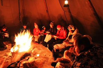 Wild game evening in teepee