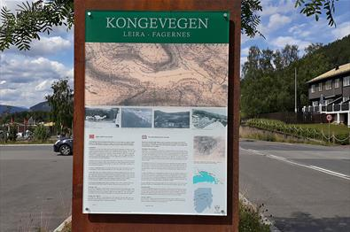 Information board about the Kongevegen between Fagernes and Leira.